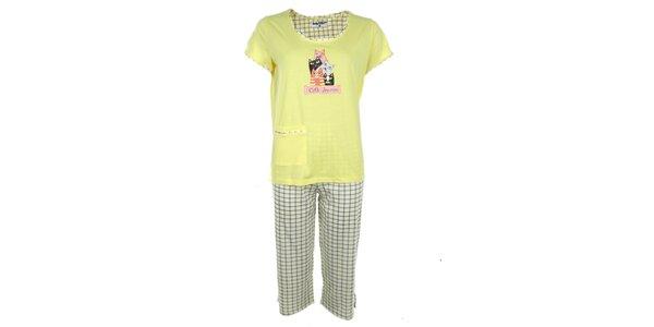 Dámske žlté pyžamo s kockovanými 3/4 nohavicami Body International
