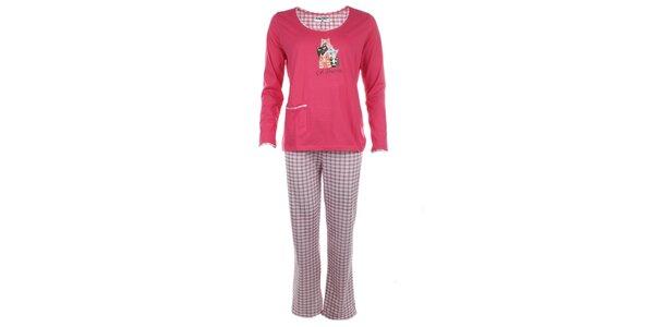 Dámske ružové pyžamo s kockovanými nohavicami Body International