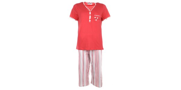 Dámske červené pyžamo s prúžkami Body International