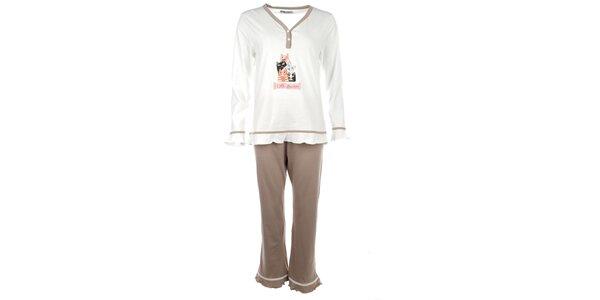 Dámske biele pyžamo s farebnými mačičkami Body International