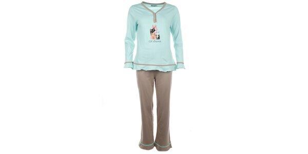 Dámske svetlo zelené pyžamo s farebnými mačičkami Body International