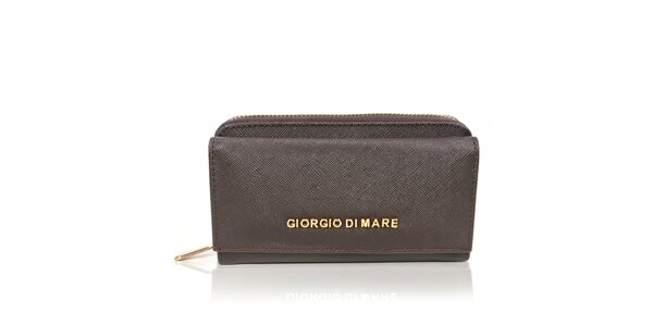 Dámska tmavo hnedá peňaženka so zlatým zipsomm Giorgio di Mare