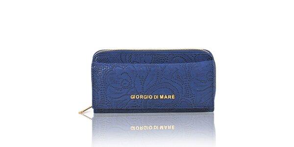 Dámska tmavo modrá peňaženka s dekoratívnym vzorom Giorgio di Mare