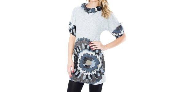 Dámske šaty s šedo-modrou potlačou First