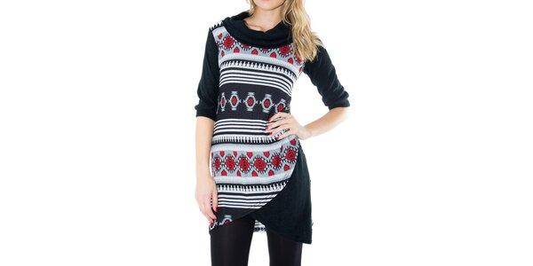 Dámske čierne šaty s červeno-šedým vzorom First