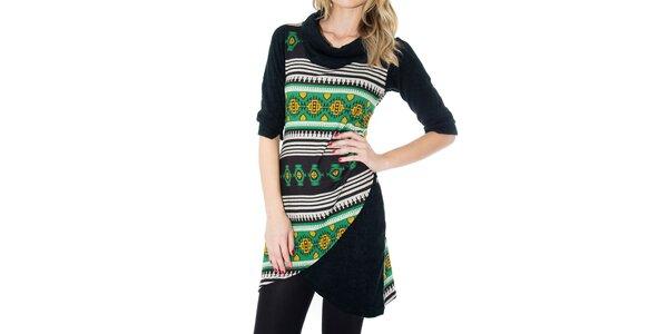 Dámske čierne šaty so žlto-zeleným vzorom First