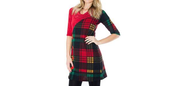 Dámske červené šaty s kockovaným vzorom a gombíkmi First