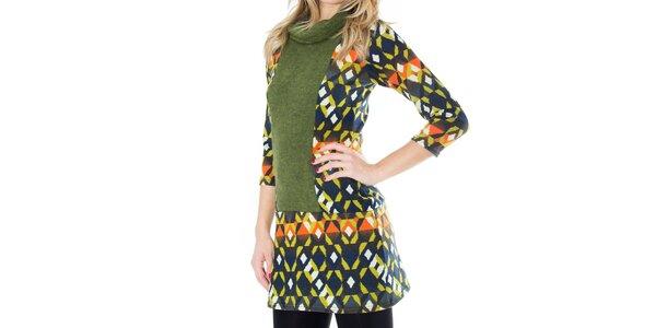Dámske vzorované mini šaty so zeleným rolákom First