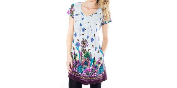Dámske melírované šaty s farebnými kvetinami First