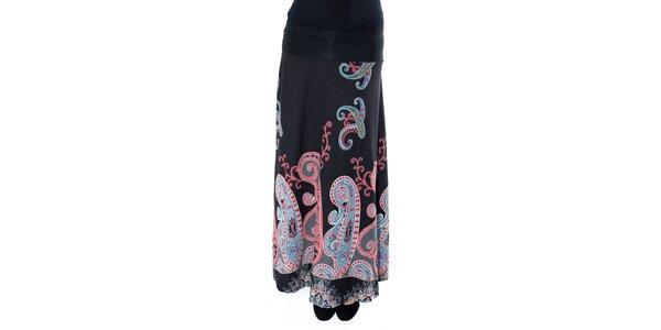 Dámska dlhá čierna sukňa s farebným vzorom First