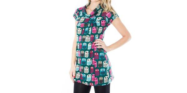Dámske zelené šaty s farebnými vtáčikmi First
