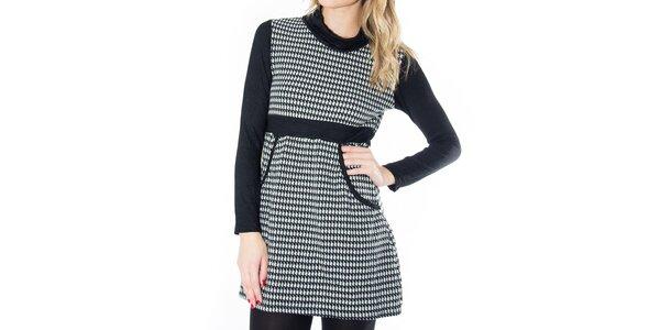 Dámske čierno-biele šaty so vzorom kohúťou stopy First