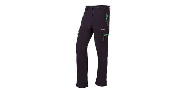 Dámske čierne outdoorové nohavice so zelenými prvkami Izas