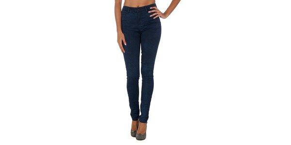 Dámske tmavo modré vzorované nohavice Vero Moda