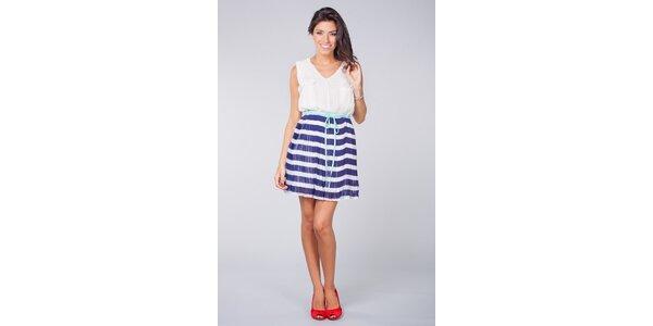 Dámske modro-biele plisované šaty Blue Velvet