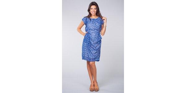 Dámske svetlo modré šaty Blue Velvet s kvetinovým vzorom