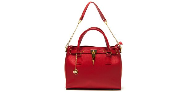 Dámska červená kabelka s retiazkou Roberta Minelli