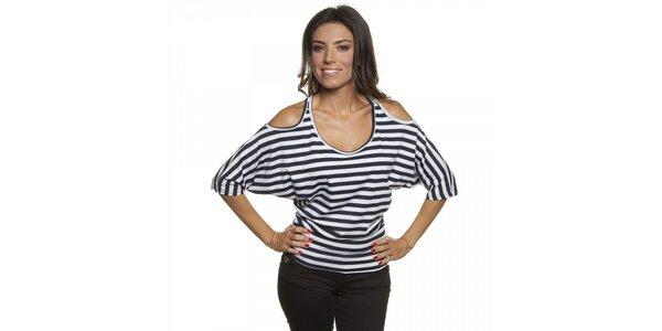 Dámske pruhované tričko s vykrojenými ramenami Blue Velvet