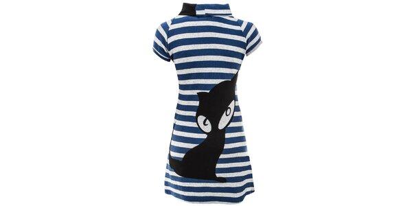 Dámske pruhované šaty s mačičkou Purple Jam