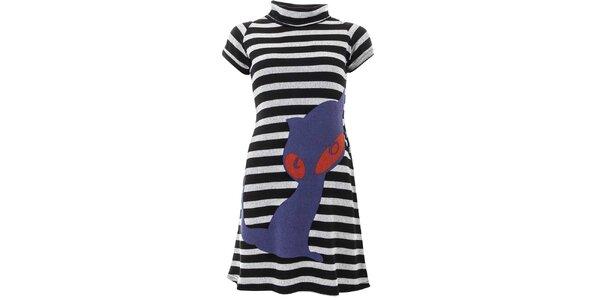 Dámske pruhované šaty s mačkou Purple Jam