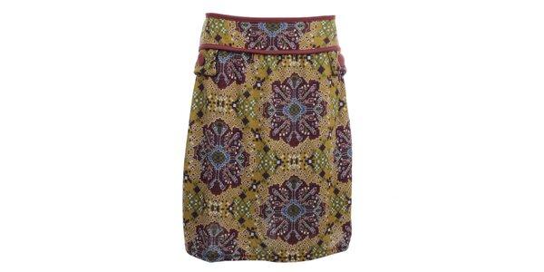 Dámska okrovo-fialová vzorovaná sukňa Purple Jam