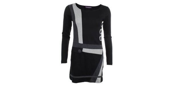 Dámske šedo-čierne šaty s gombíkmi Purple Jam