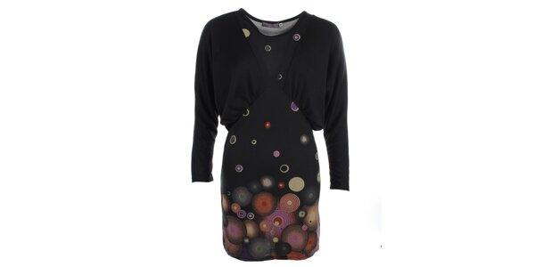 Dámske šaty s rozšírenými rukávmi a potlačou Purple Jam