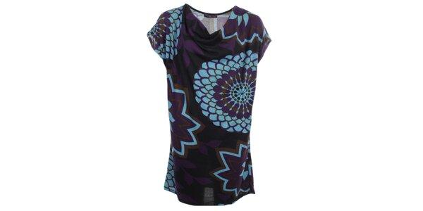 Dámske šaty s tyrkysovými kvetmi Purple Jam