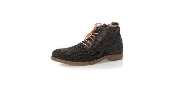 Pánske čierne členkové šnurovacie topánky Nobrand