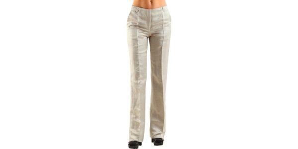 Dámske béžové ľanové nohavice Calvin Klein s pukmi