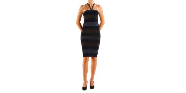 Dámske šedo-čierne prúžkované šaty Calvin Klein