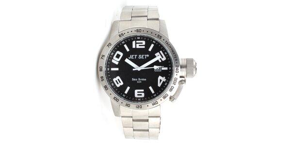 Pánske strieborné analogové hodinky Jet Set