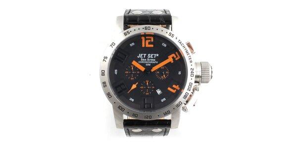 Pánske oceľové hodinky Jet Set s čiernym koženým remienkom a oranžovými indexmi