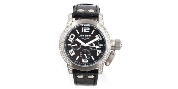 Čierno-strieborné analogové hodinky Jet Set so Swarowski kryštálmi