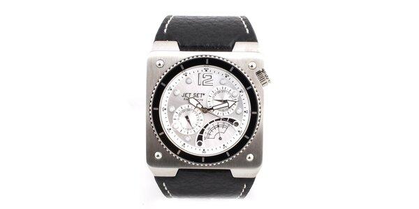 Pánske ocelové hodinky Jet Set s čiernym koženým remienkom