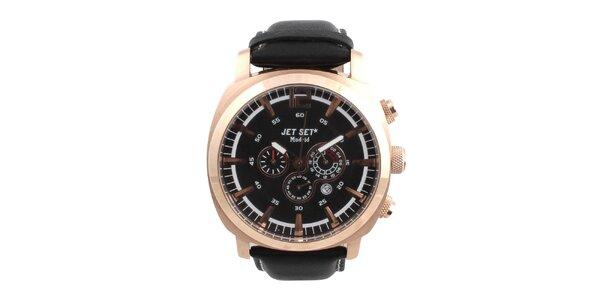 Pánske hodinky s čiernym koženým remienkom Jet Set