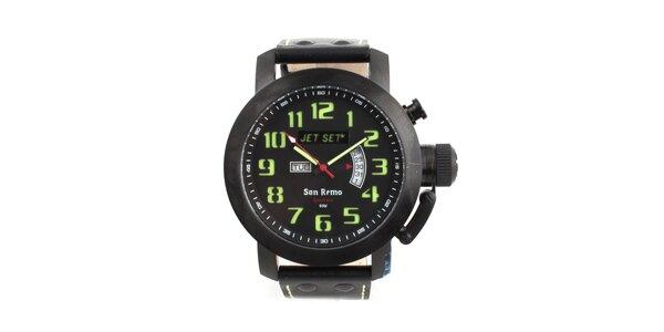 Čierne hodinky so zelenými indexmi Jet Set