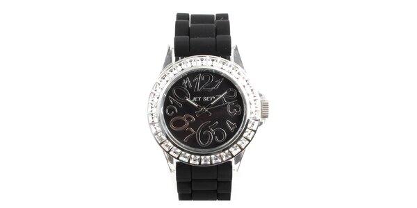Dámske čierne hodinky s hranatými kamienkami Jet Set
