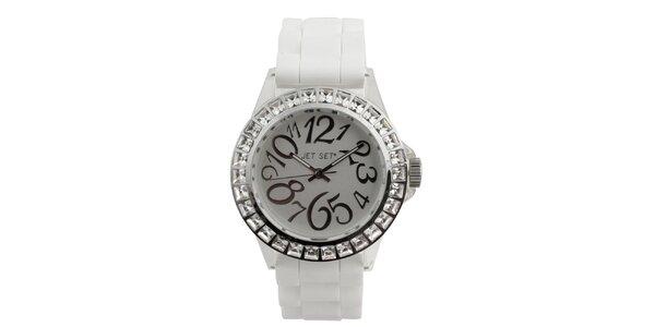 Dámske biele hodinky s kamienkami Jet Set