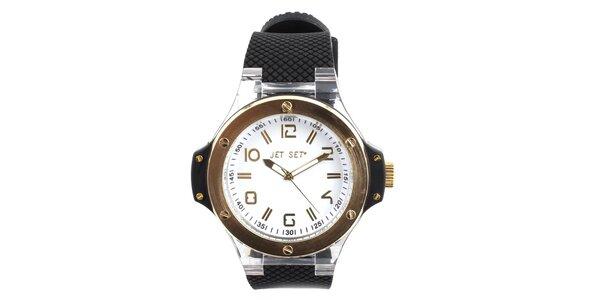Zlaté hodinky Jet Set s čiernym silikónovým remienkom