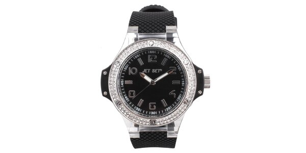 Dámske čierne hodinky s kamienkami na lunete Jet Set