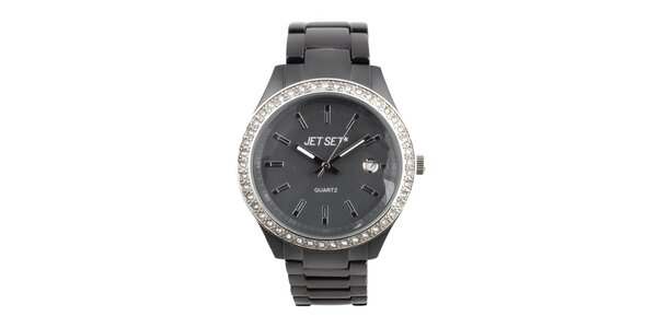 Dámske šedé hodinky s bielymi kamienkami Jet Set