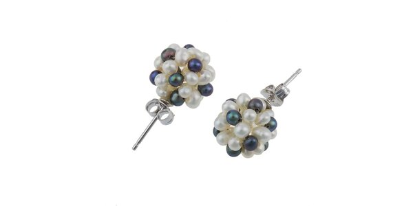Dámske náušnice s čiernymi a bielymi perlami Orchira