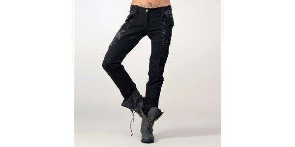 Dámske čierne nohavice s vreckami Angels Never Die