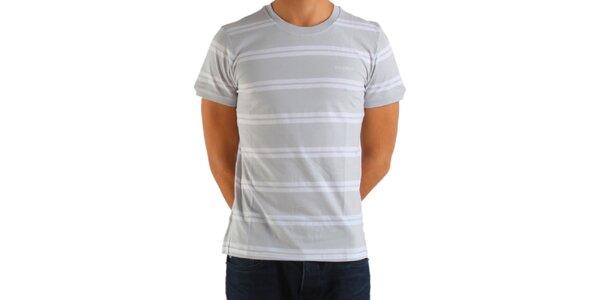 Pánske svetlo šedé prúžkované tričko Calvin Klein