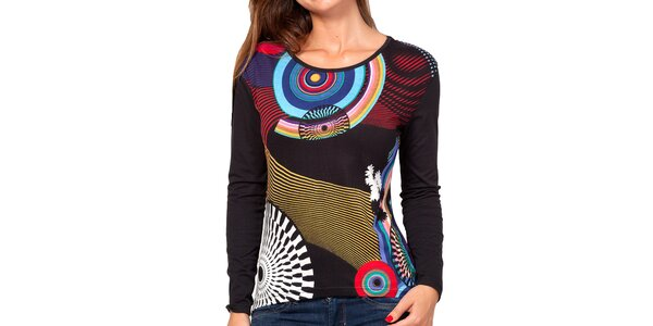 Dámske čierne tričko s farebnou potlačou a dlhým rukávom Kool fa56c147cd5