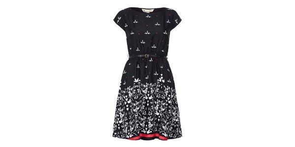 Dámske čierne šaty s potlačou vtáčikov a srdiečok Yumi 502966fa532