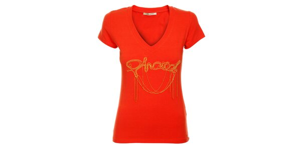 Dámske červené tričko Phard so zlatou aplikáciou