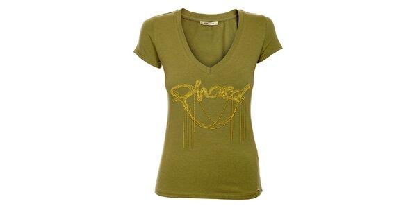 Dámske khaki tričko Phard so zlatou aplikáciou