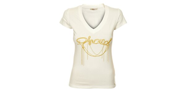 Dámske biele tričko Phard so zlatou aplikáciou